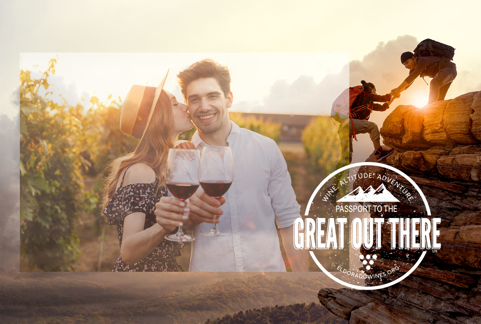 A couple holding a glass of red wine and in the background another couple climbing a big rock