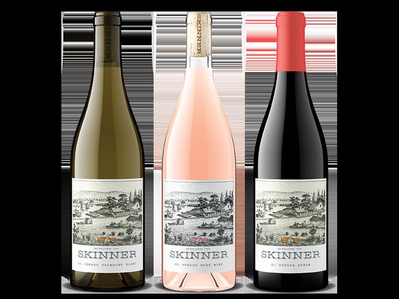 Three bottles of Skinner wine including El Dorado Grenache Blanc, El Dorado Rose Wine and El Dorado Syrah