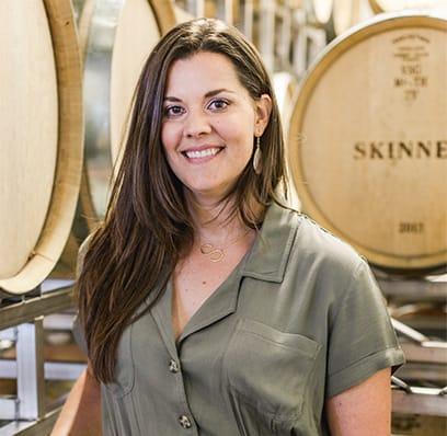 Stephanie in the Skinner wine cellar