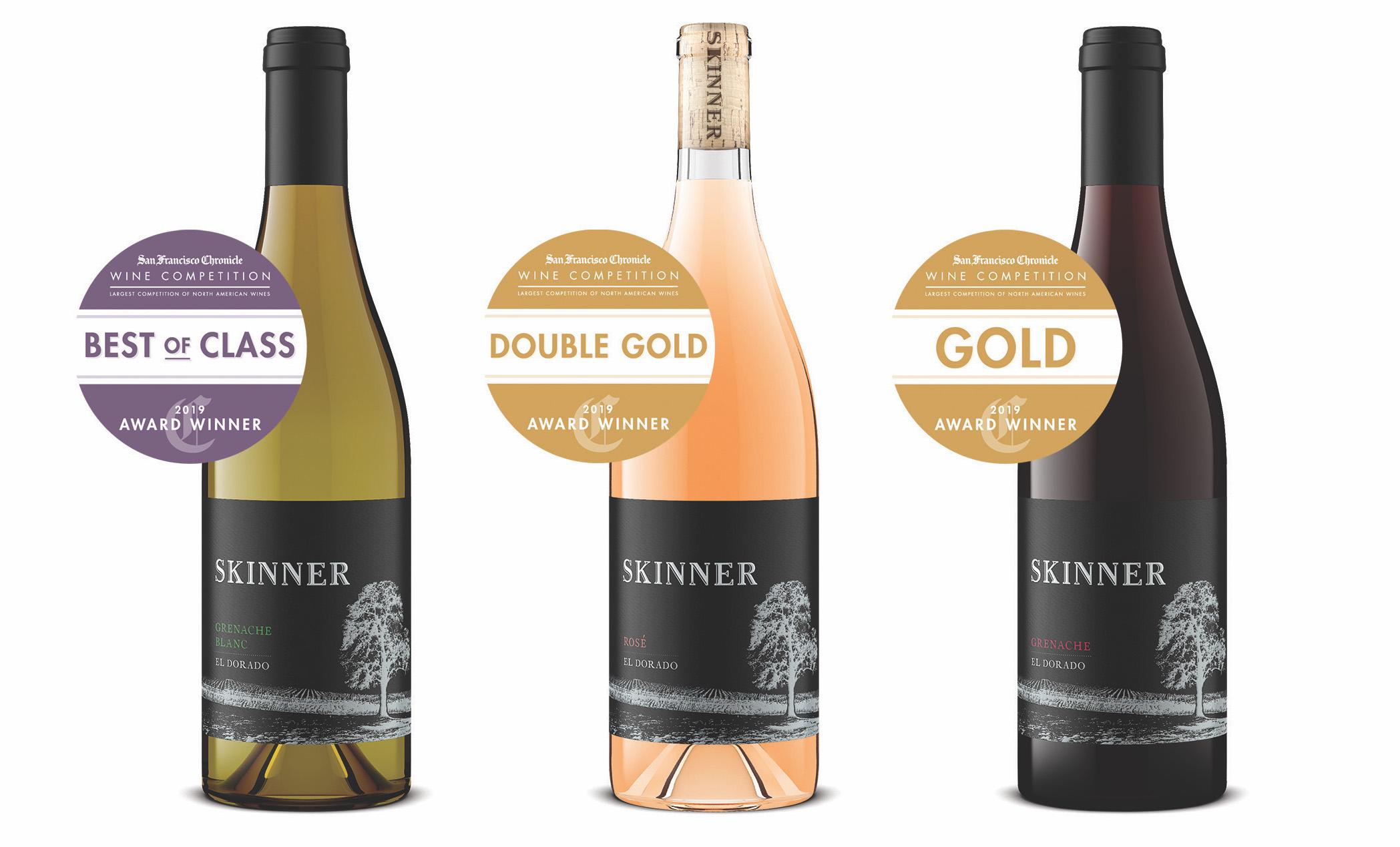 Three bottles of Skinner wine including Skinner Grenache Blanc, Skinner Rose El Dorado and Skinner Grenache El Dorado