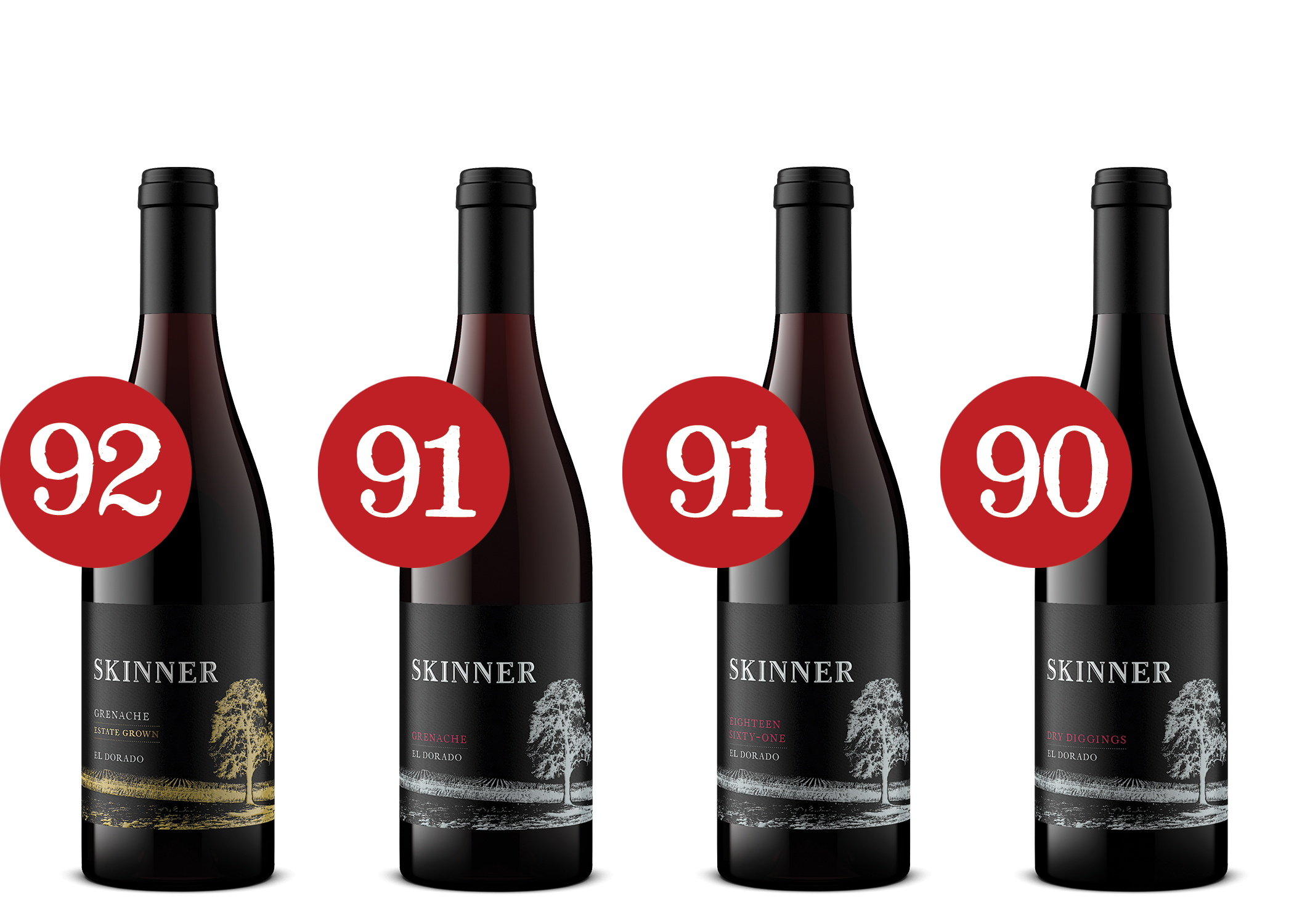 Four bottles of Skinner wine