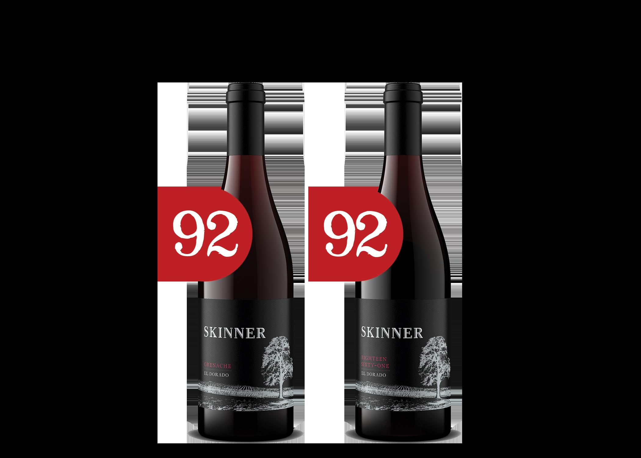 Two bottles of Skinner wine