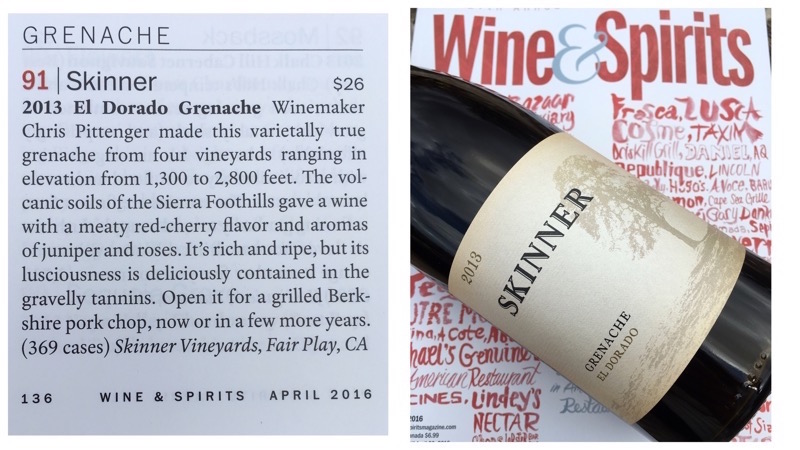 Article about Skinner Grenache El Dorado Wine