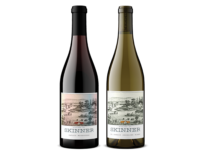 Two bottles of Skinner red and white wine including Estate Mourvedre and El Dorado Grenache Blanc