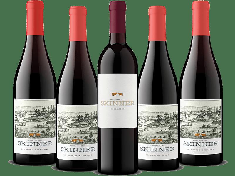 Five bottles of Skinner red wine