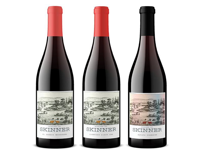Three bottles of Skinner wine including El Dorado Mourvedre, Eighteen Sixty One and Estate Grenache