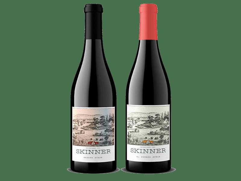 Two bottles of Skinner red wine including Estate Syrah and El Dorado Syrah